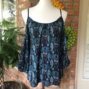 Anthropologie Bird Cage Paisley Cold Shoulder Top